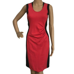 Kenneth Cole Black & Red Colorblock Ruched Dress 6